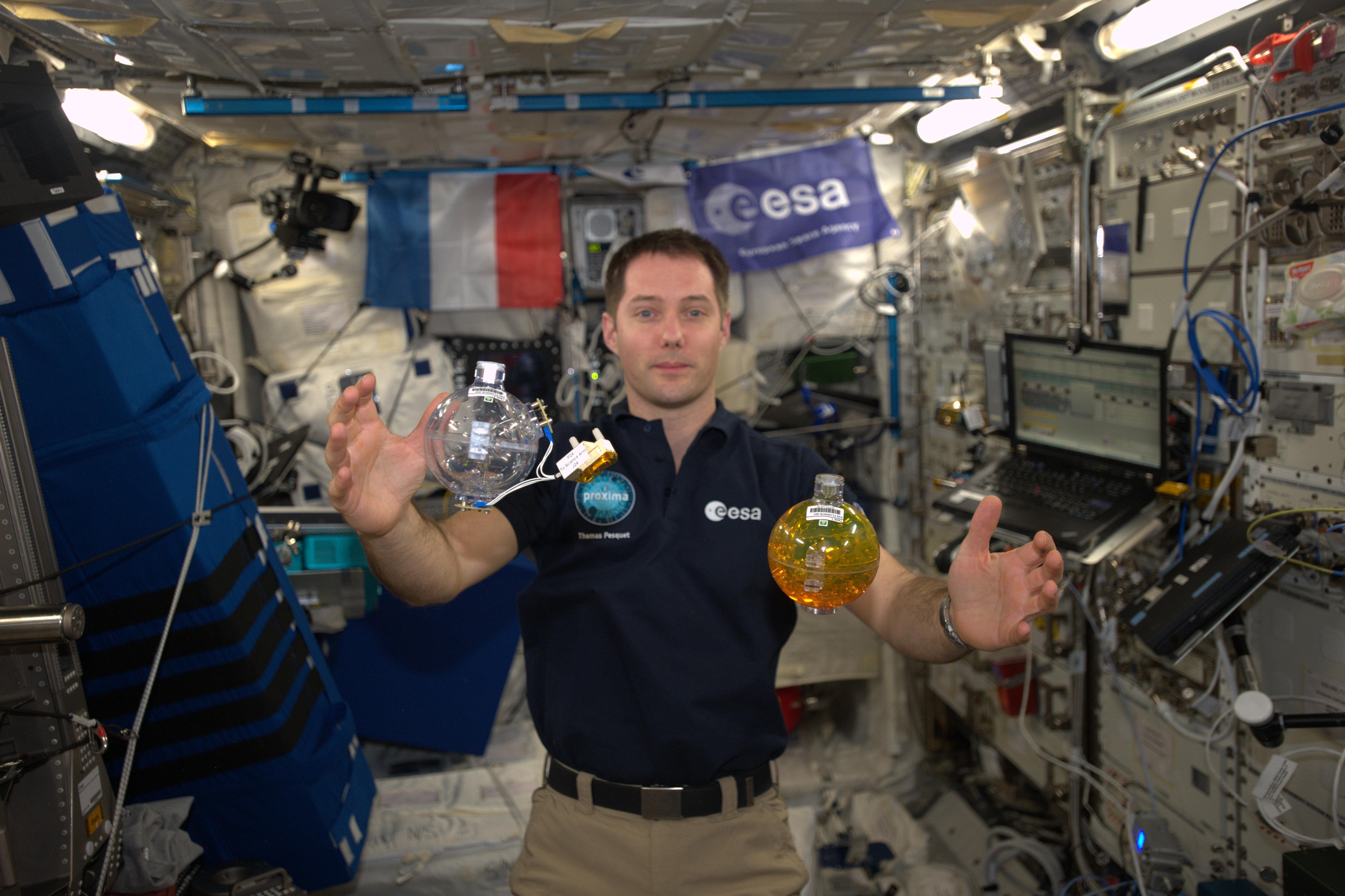 L'astronaute Thomas Pesquet dans l'ISS