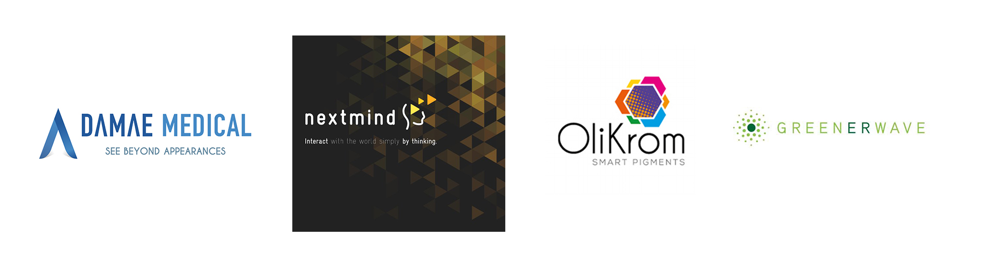 Logo des start-up DAMAE Medical, Nextmind, Olikrom et Greenerwave